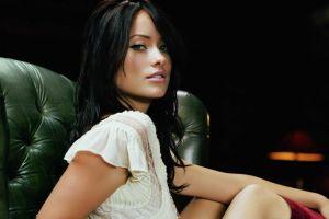 blue eyes women brunette actress sitting olivia wilde white tops white dress