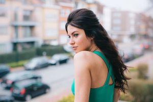 blue eyes women brunette model face aurela skandaj long hair