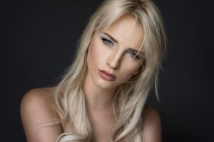 blue eyes women model portrait face simple background looking at viewer bare shoulders martin kühn blonde