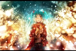 blue hair long hair anime girls vocaloid twintails hatsune miku cyan hair