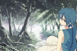 blue hair magi: the labyrinth of magic forest anime trees aladdin (magi)