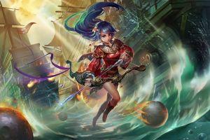 blue hair sailing ship anime girls fantasy art anime bow fantasy girl long hair archer