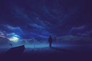 blue silhouette dark clouds