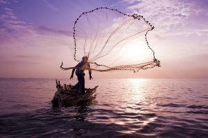 boat nests landscape fisherman water mist sea fishing clouds nature