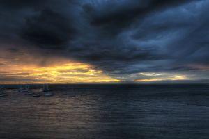 boat overcast hdr harbor sea