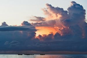 boat sunset water sea clouds tropical nature landscape
