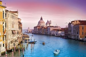 boat urban venice city church building canal italy architecture landscape