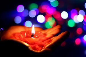 bokeh macro candles fire