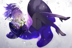 bouquets saberiii anime flowers darker than black heels anime girls purple hair purple dresses yin purple pantyhose black heels