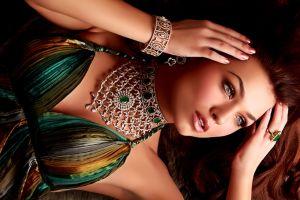 bracelets redhead looking away necklace retouching women green dress
