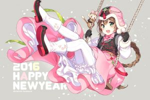 braids original characters anime girls swings anime dress