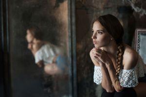 braids pearl earrings women face victoria lukina bare shoulders brown eyes model mirror portrait