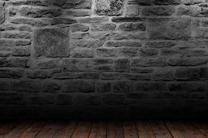 bricks wall wooden surface