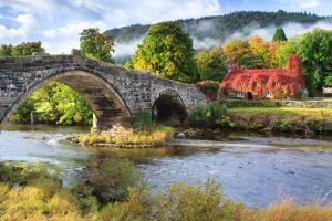 bridge landscape wales nature stones river