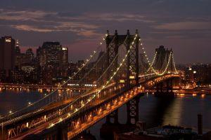 bridge manhattan bridge city night new york city usa