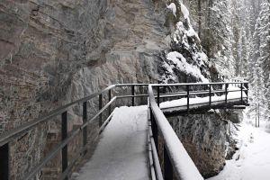 bridge mountains landscape rock winter canada canyon snow nature