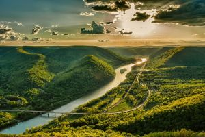 bridge nature sunset forest valley green spring sky highway road clouds mountains river landscape