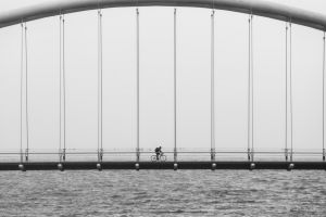 bridge outdoors monochrome water