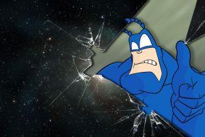 broken glass digital art the tick glass superhero stars space