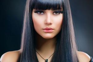 brown eyes dark hair women face
