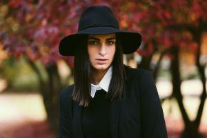 brown eyes depth of field women hat millinery brunette