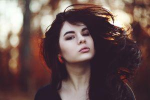 brown eyes face women dark hair looking at viewer lips