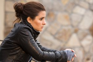 brown eyes leather jackets women outdoors actress profile