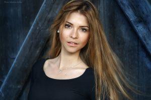 brown eyes women face brunette blonde portrait model