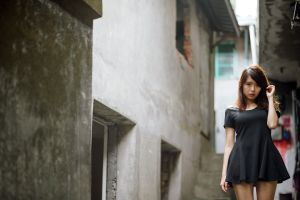 brown eyes women long hair skirt asian brunette model black dress standing looking at viewer women outdoors