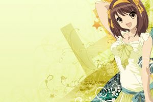brunette anime open mouth arms up anime girls suzumiya haruhi