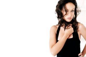 brunette black dress women hair in face actress olivia wilde