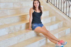 brunette black tops tank top jean shorts women long hair ftvgirls