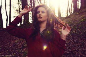 brunette david milev aurela skandaj necklace model women red clothing lens flare nature blue eyes