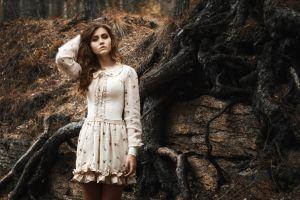 brunette dress model spooky women hands in hair nature