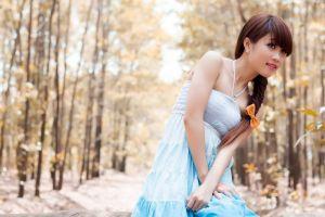 brunette ear studs braids women outdoors bare shoulders fall women long hair asian blue dress