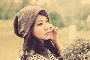 brunette eyeliner profile women soft long hair color correction women with hats asian