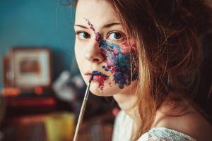 brunette face women looking at viewer paintbrushes momorozov face paint