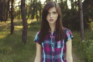 brunette freckles depth of field women outdoors portrait long hair plaid shirt natasha shelyagina women