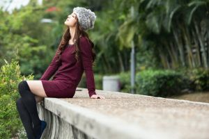 brunette knee-highs closed eyes sitting women looking up