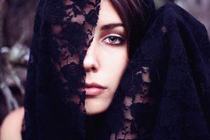brunette looking at viewer face women outdoors women hazel eyes