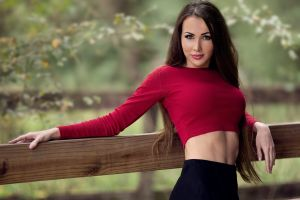 brunette red tops model long hair straight hair skirt bare midriff makeup trees women outdoors depth of field wood looking at viewer women nature