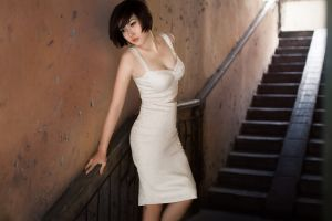 brunette short hair asian women cleavage