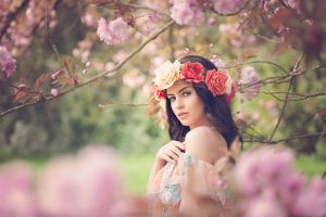brunette women outdoors blue eyes women flowers flower in hair aurela skandaj