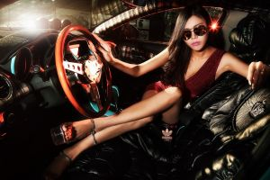 brunette women with shades women with cars minidress legs crossed asian long hair red dress