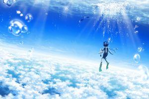 bubbles sky sea clouds sun rays horizon underwater