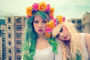 building blonde women rose wreaths asian dyed hair