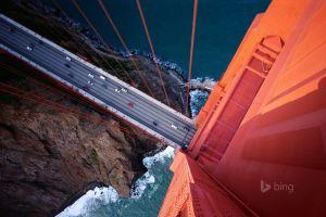 building golden gate bridge san francisco aerial view bridge traffic
