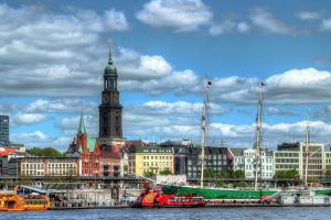 building hdr old building cityscape hamburg flag church city architecture dock germany ship sky clouds ports