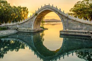 building reflection bridge landscape