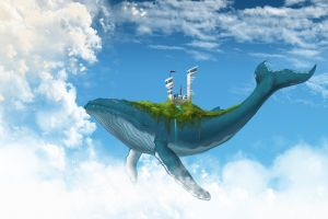 building whale nature fantasy art sky stream animals floating waterfall clouds futuristic digital art